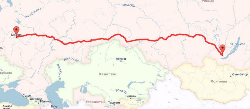 Трасса из Москвы до Иркутска