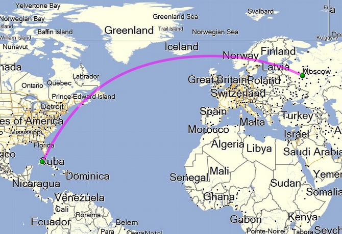 Траектория прямого перелёта Москва-Гавана
