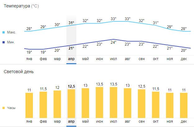 Климатические показатели в Ольгине по месяцам